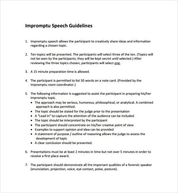 8 Impromptu Speech Templates Sample Templates