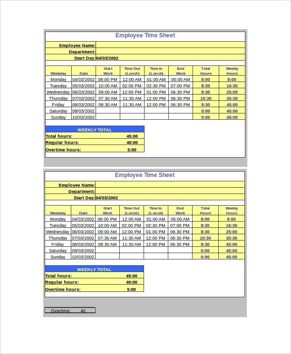 Monthly Time Sheet Calculator Templates 9 Free ~ Timesheet Calculators