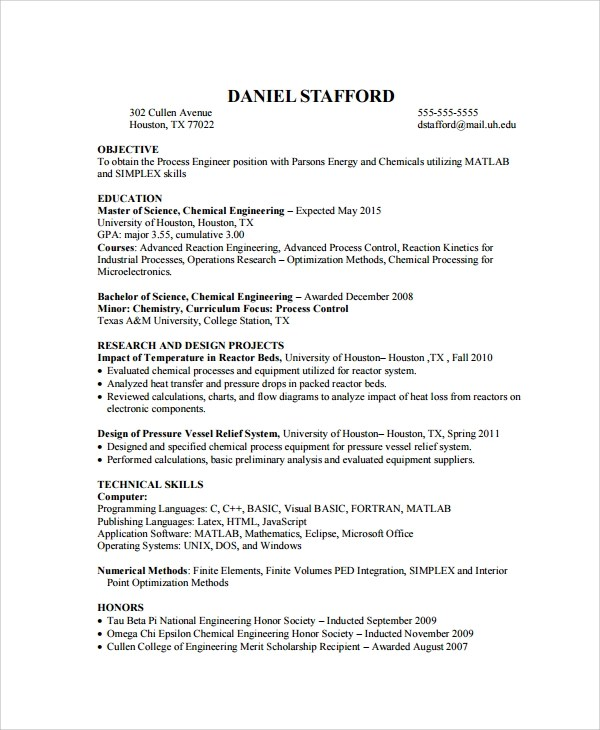 10 Biomedical Engineer Resume Templates Sample Templates