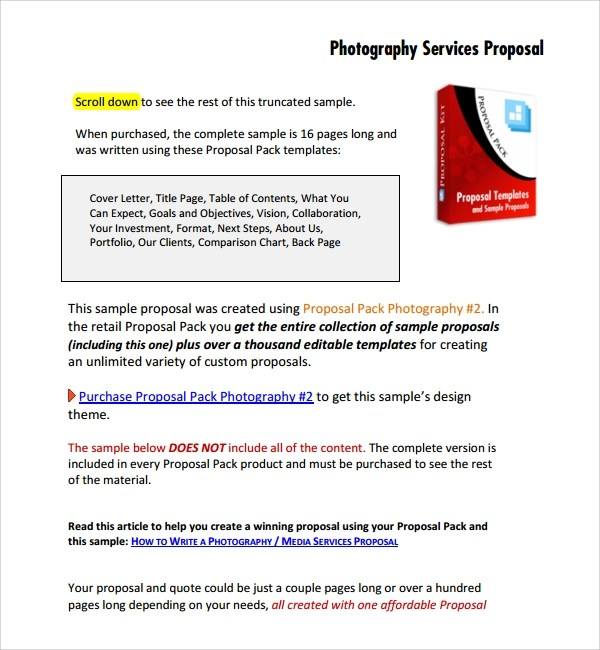13 Photography Proposal Templates Sample Templates