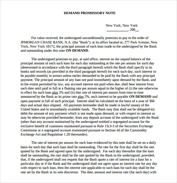 demand promissory note template