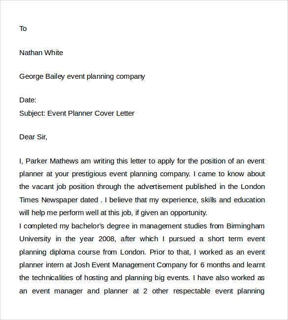 sample cover letter for resume event planner