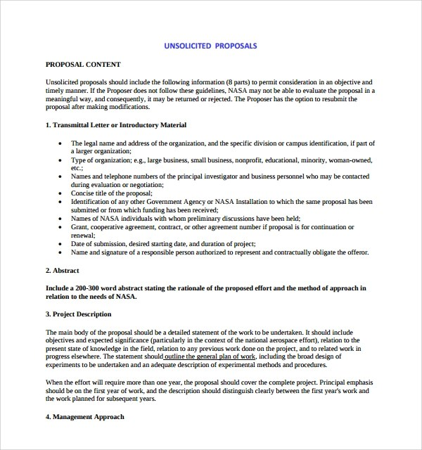 Sample Unsolicited Proposal Template 8 Free Documents