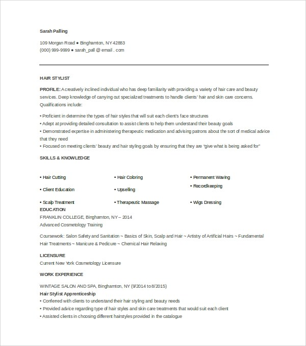 Sample Hair Stylist Cover Letter  3 Documents in word PDF PSD