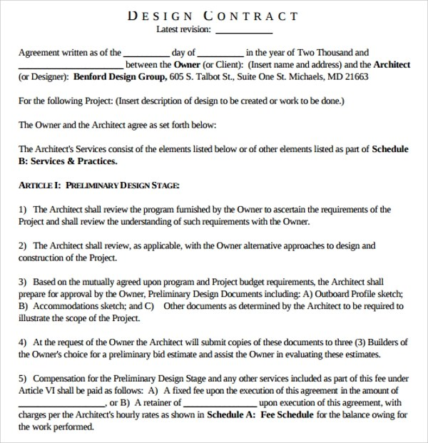 Interior design contract sample for Interior decorator contract