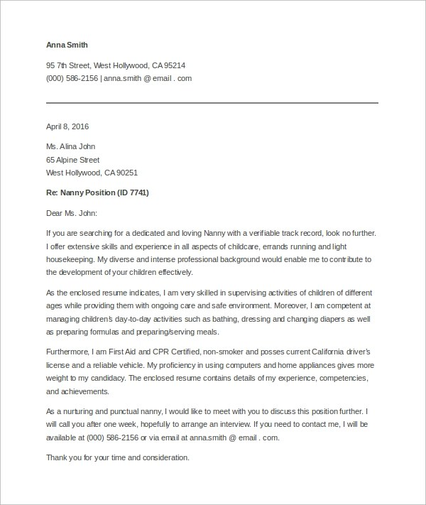 Cover Letter Nanny Resume Template