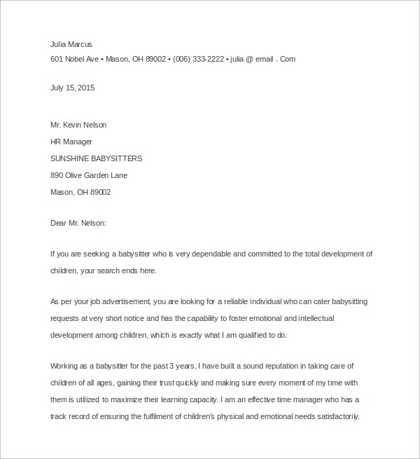 Sample Nanny Cover Letter  3 Free Documents in Word PDF