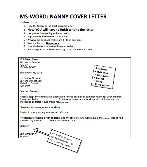 Cover Letter Nanny Resume Example