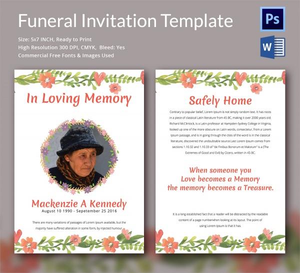 Funeral Invitation Card Sample – Funeral Invitation Templates