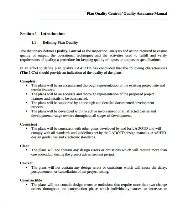 Sample Quality Control Plan Template 10 Free Documents In PDF Word