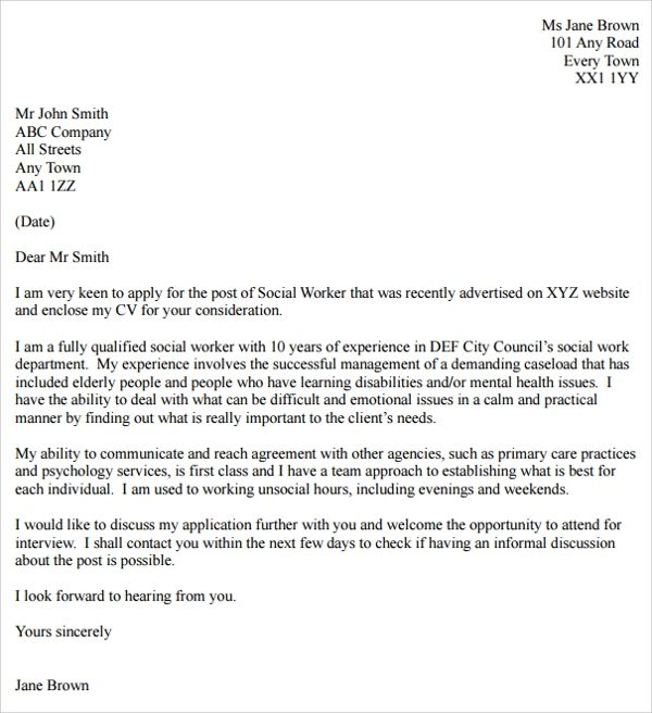 cover letter example social work