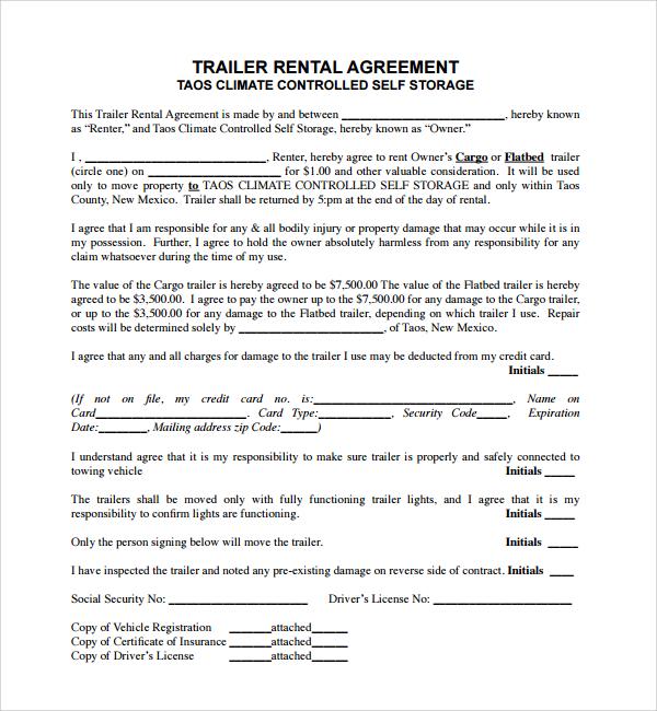 11 Trailer Rental Agreement Templates  PDF