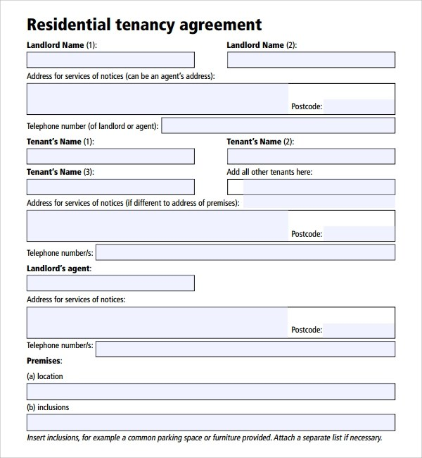 Tenancy Agreement Contract Template Technical Support