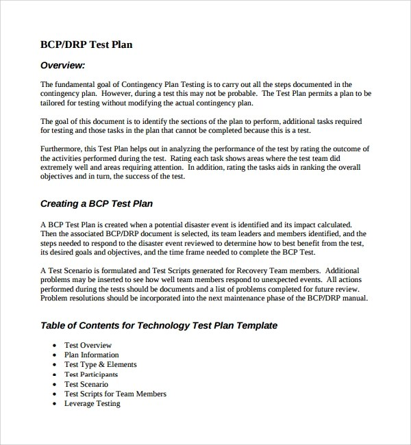 Modern Bcp Test Plan Template Ideas - Resume Template ...
