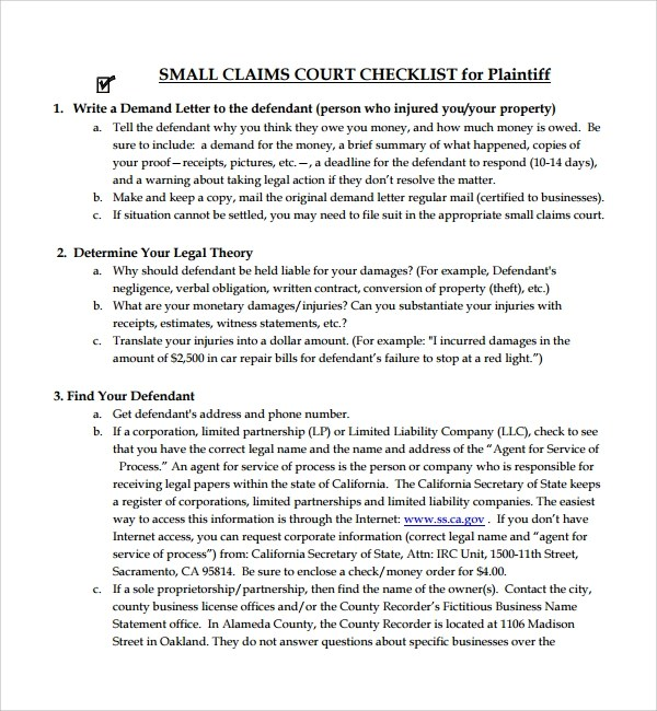 Demand Letter Small Claims Court | Docoments Ojazlink