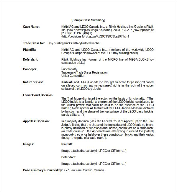 10 Case Summary Templates Sample Templates