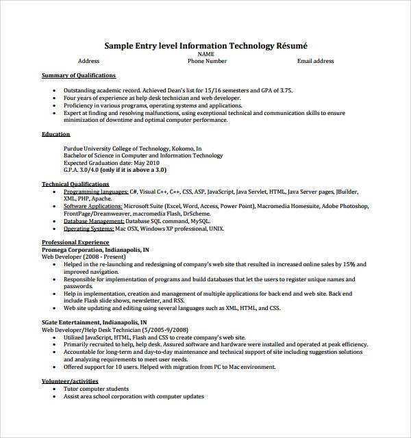 8 IT CV Templates Sample Templates