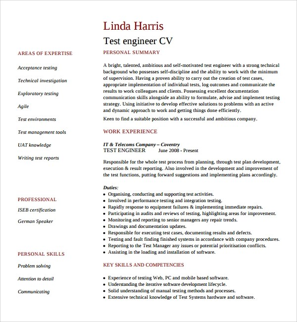 Sample IT CV Template  7 Free Documents Download in Word