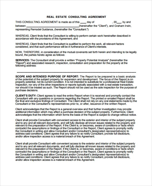 9+ Real Estate Consulting Agreement Templates | Sample Templates