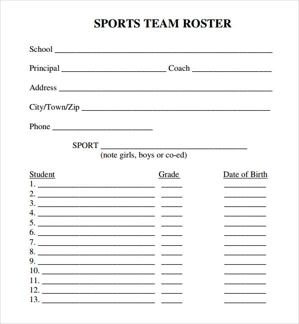 softball team roster template