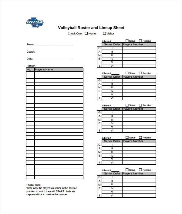 7+Sample Volleyball Roster Templates