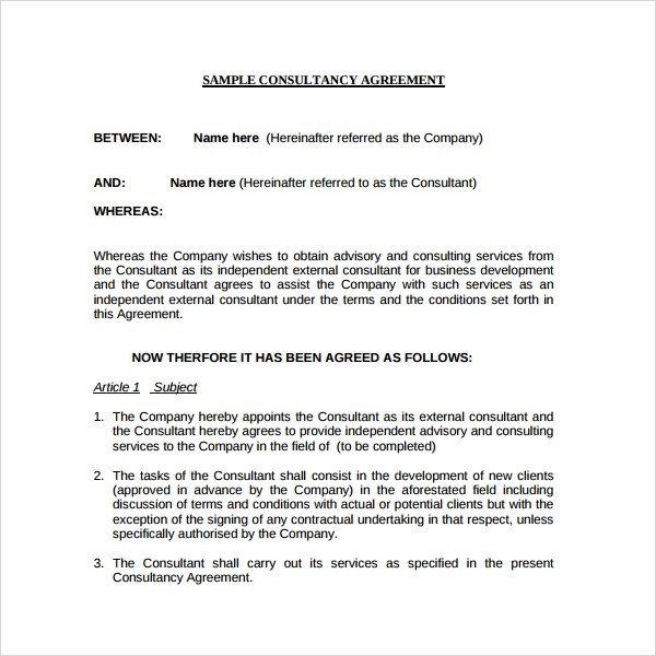 8+ Business consulting Agreements | Sample Templates