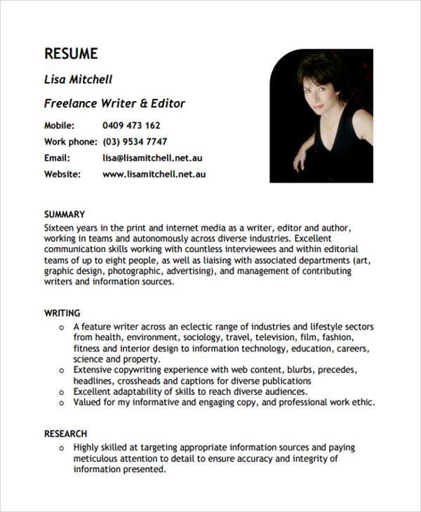 Freelance Writer Resume Example