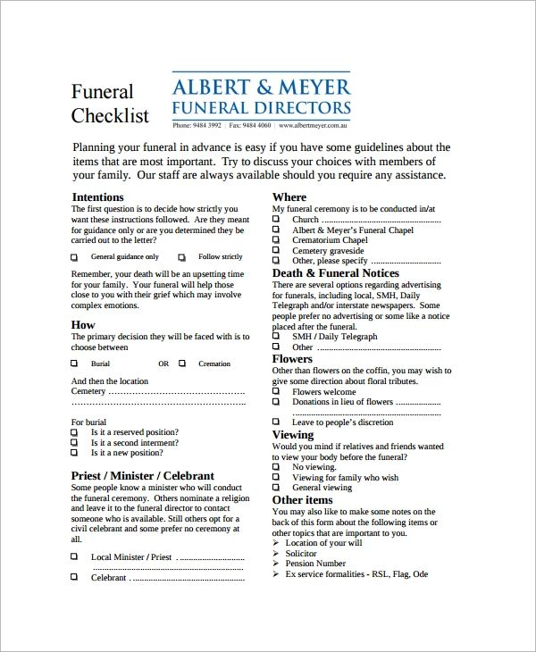 funeral checklist template