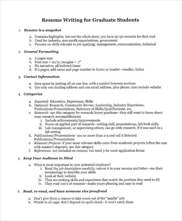 Resume Writing College Graduates