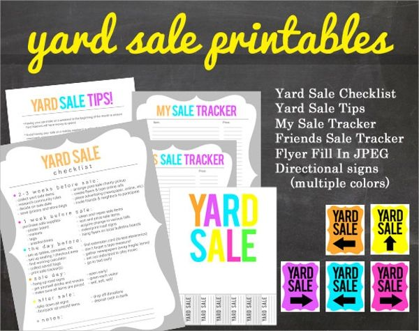 yard sale flyer printables