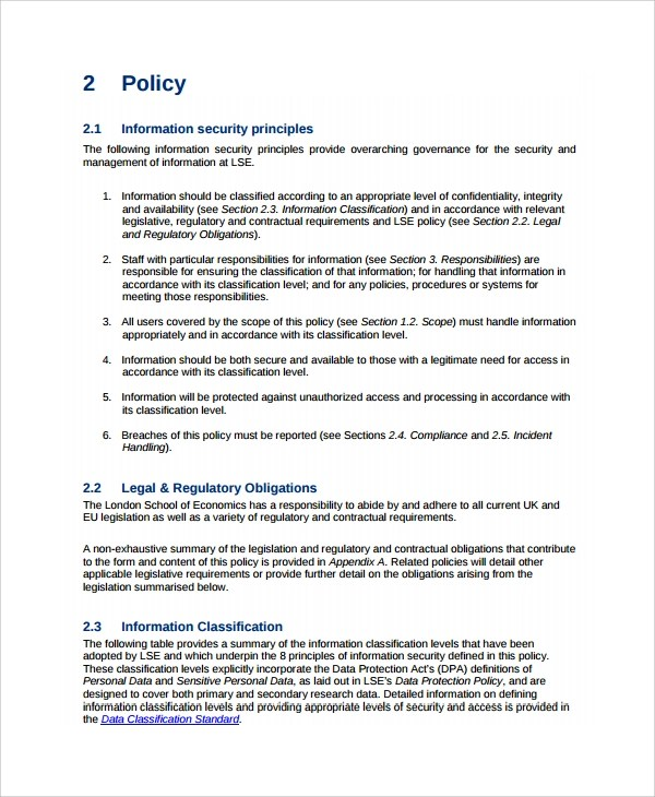 Uk Security Policy Template Information