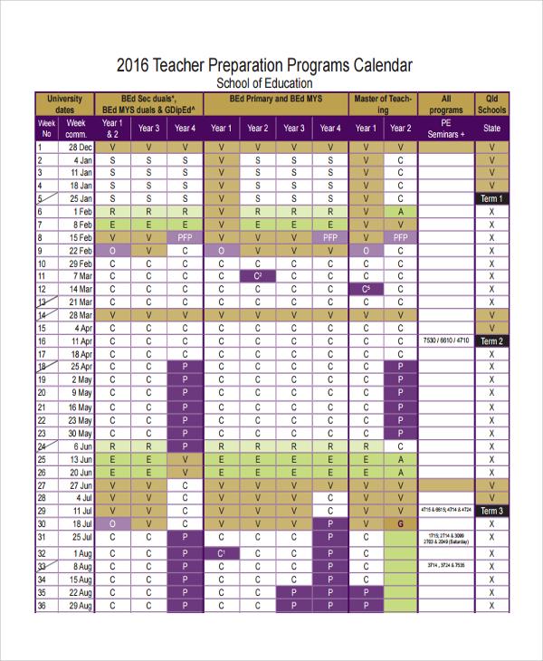 Standard Size Calendar Template
