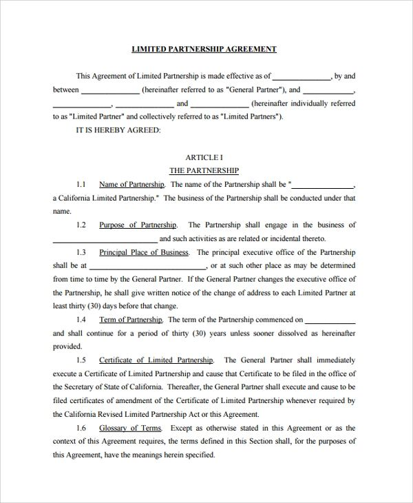 standard business partnership agreement