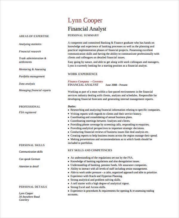 finance manager resume sample word