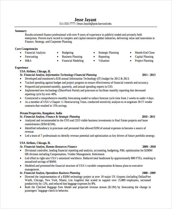 8 Finance Resume Templates  Sample Templates