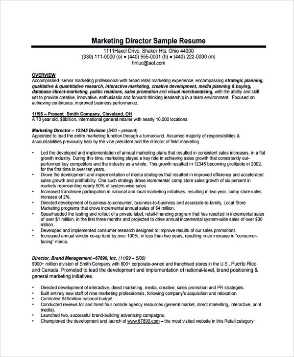 director business operations resume sample