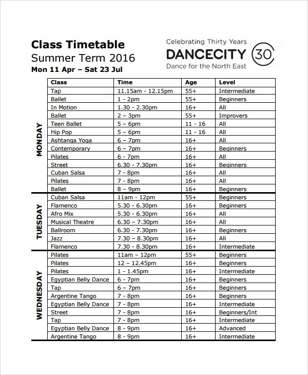 Sample Class Timetable Template 9 Free Documents Download In PDF Word Excel