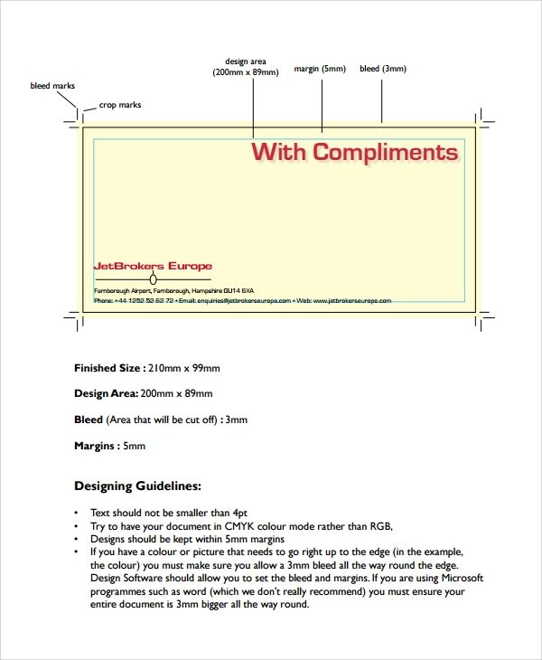compliments slips template