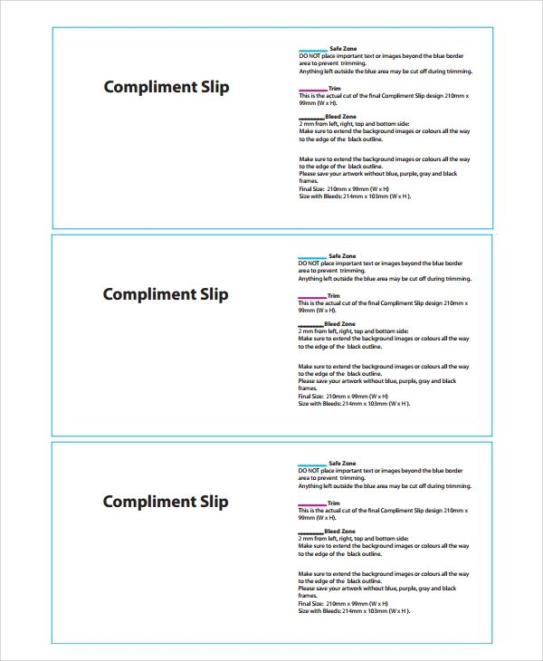 compliment slip template