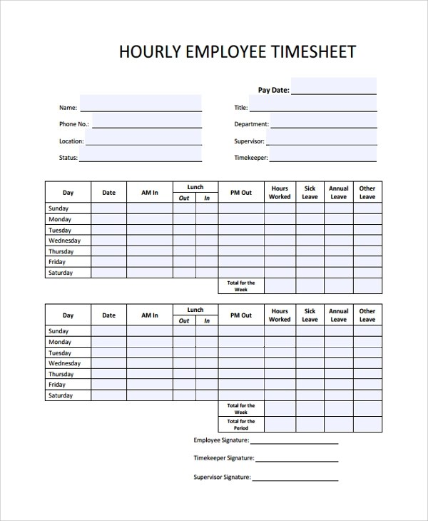 sample timesheets for hourly employees