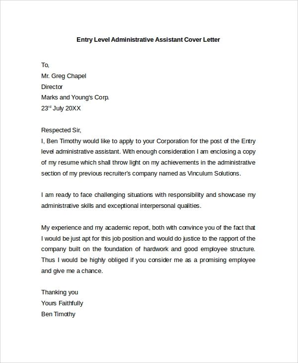 basic cover letter administrative assistant