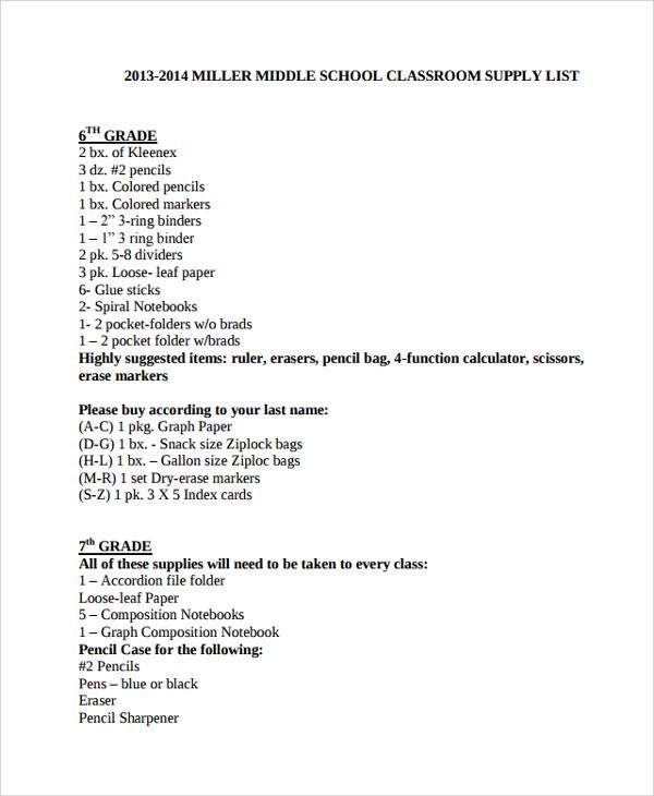school supply list template