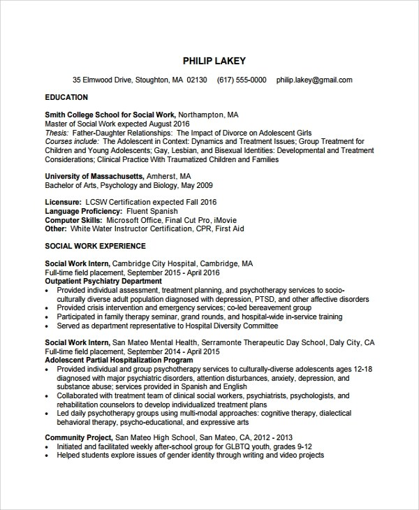 10 Social Worker Resume Templates Sample Templates