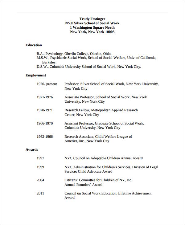 resume for social worker