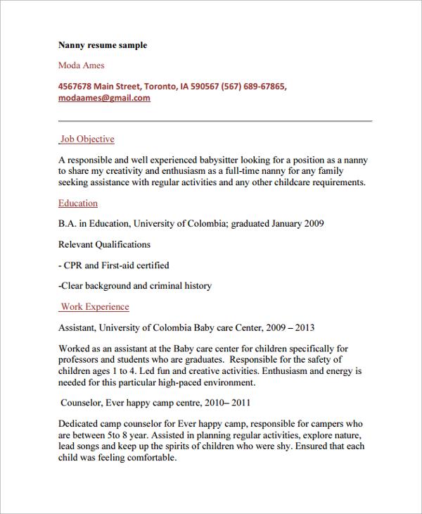 Nanny resume example examples of resumes nanny resume professional new born nanny resume nanny resume 8 altavistaventures Choice Image