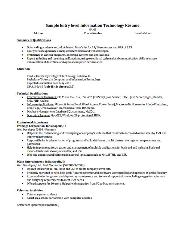 resume sample entry level computer technician