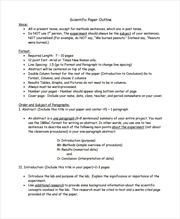 8 Report Outline Templates Sample Templates