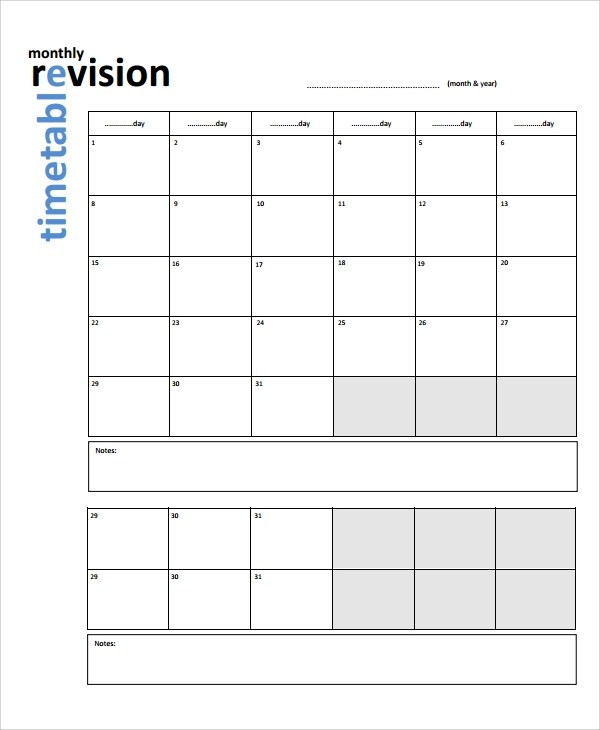 Timetable maker monash for Blank revision timetable template