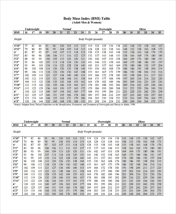 bmi table for men – Bmi Chart Template