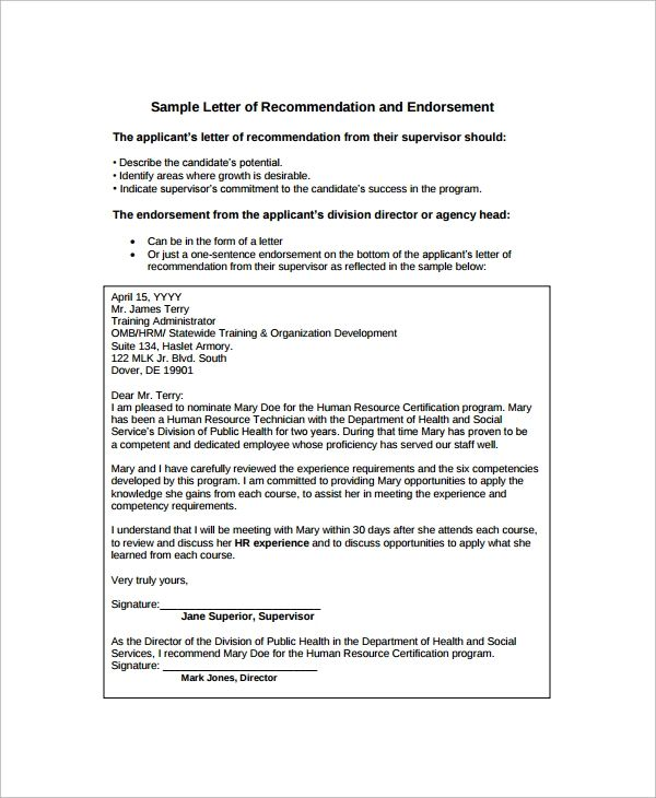 professional recommendation letter examples